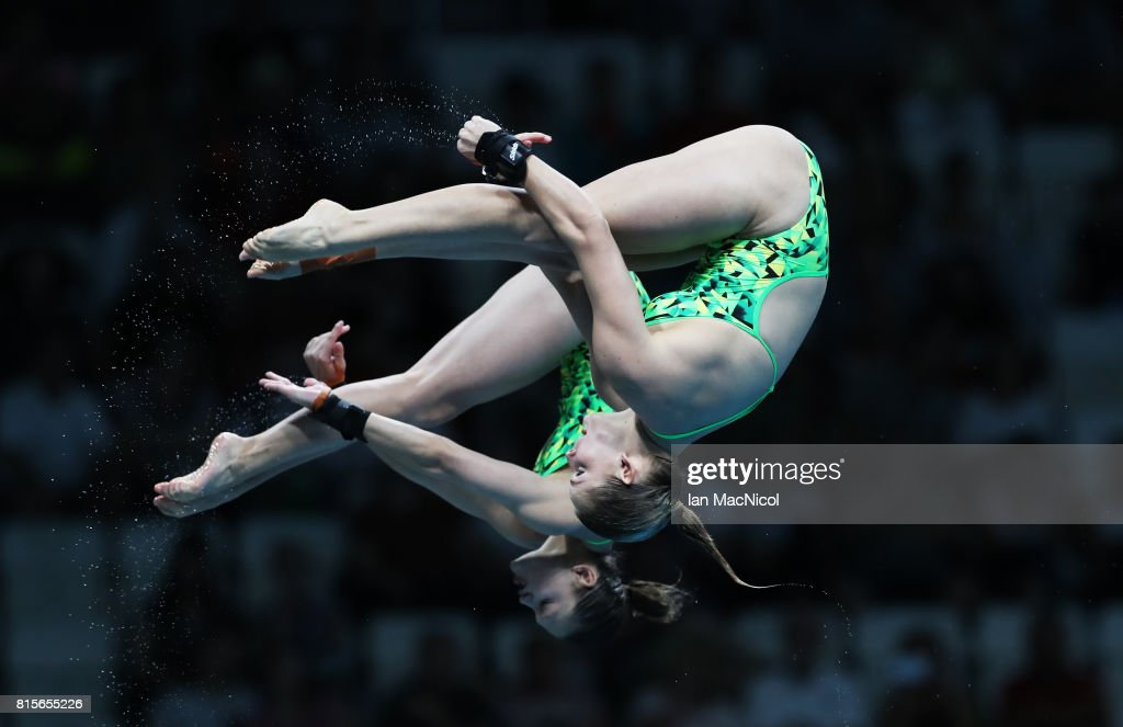 Taneka Kovchenko and Mellisa Wu of Australia compete in the final of the Women's 10m Synchro Platform during day three of the 2017 FINA World Championship on July 16, 2017 in Budapest, Hungary.