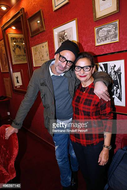 Tanel Bedrossiantz and Journalist Marie Colmant attend the Theater Play 'Ne me regardez pas comme ca ' performed at 'Theatre Des Varietes' on October...