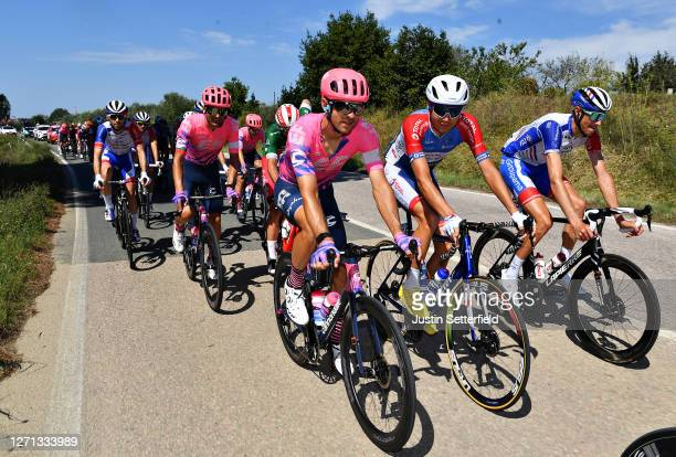 Tanel Kangert of Estonia and Team EF Pro Cycling / Rein Taaramae of Estonia and Team Total Direct Energie / Tobias Ludvigsson of Sweden and Team...