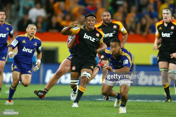 Tanerau Latimer of the Chiefs kicks during the round two Super Rugby match between the Highlanders and the Chiefs at Forsyth Barr Stadium on February...