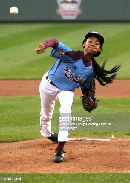 Taney Dragons pitcher Mo'ne Davis throws out a ball during the game against Navada at Lamade Stadium during the Little League World Series in...