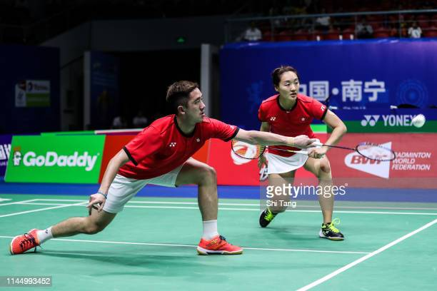 Tang Chun Man and Tse Ying Suet of Hong Kong compete in the Mixed Doubles match against Chang Ching Hui and Wang ChiLin of Chinese Taipei during day...