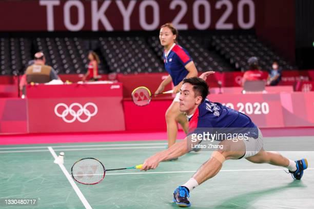 Tang Chun Man and Tse Ying Suet of Team Hong Kong China compete against Wang Yi Lyu and Huang Dong Ping of Team China during a Mixed Doubles Group D...