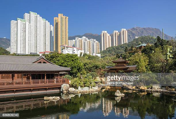 tang dynasty architecture of chi lin nunnery with buildings in the background, kowloon, hong kong - nonnenkloster stock-fotos und bilder