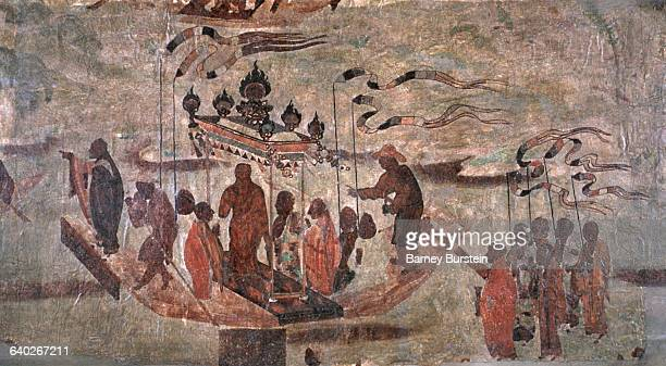Tang Dynasty Fresco Painting of Transporting the Golden Image of Buddha