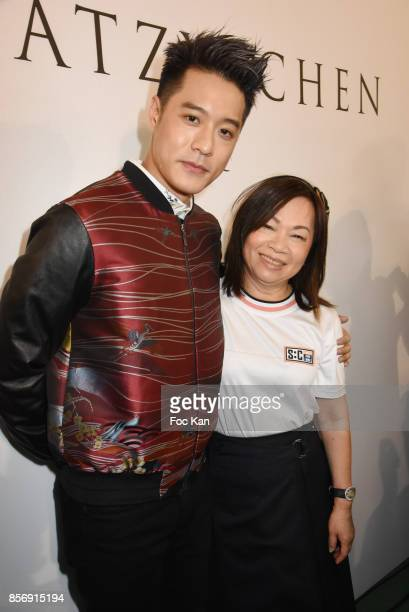 Tang Hao Chou from nickthereal and designer Wang Chen TsaiHsia from Schiatzy Chen attend the Schiatzy Chen show as part of the Paris Fashion Week...