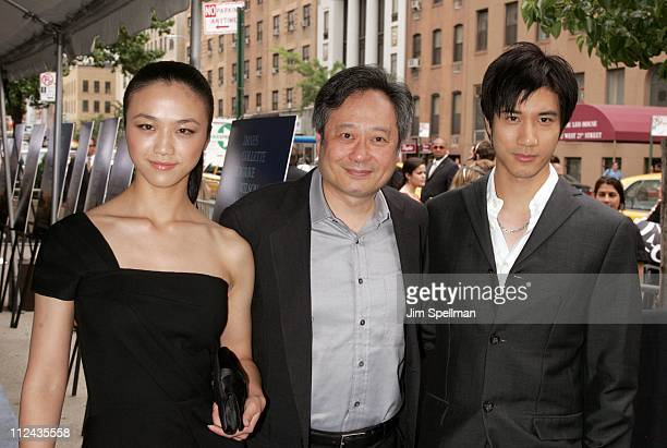 Tang Wei Ang Lee and Wang Lee Hom during The Cinema Society Donna Karan Host the NY Premiere of 'Evening' Outside Arrivals at Chelsea Clearview West...