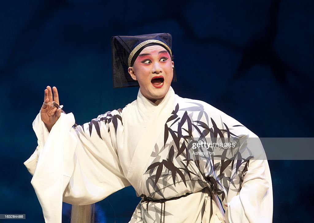 Tang Wen-hua of the Taiwan Guoguang Opera Company performs scenes from the 'Flowing Sleeves and Rouge' as part of the Taiwan International Festival of the Arts at the National Theatre on March 7, 2013 in Taipei, Taiwan.