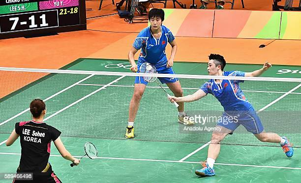 Tang Yuanting and Yu Yang of China compete against Chang Ye Na and Lee So Hee of South Korea during the Women's Doubles Badminton match on Day 8 of...