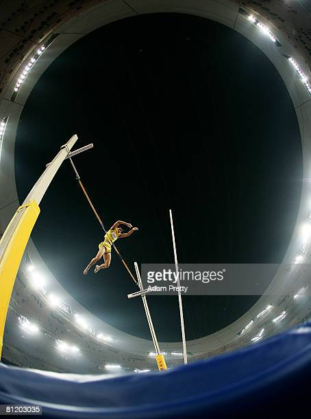 Tang Zhanggui of China in action during the mens pole vault during the Good Luck Beijing 2008 China Athletics Open at National Stadium on May 22,...