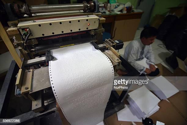 Tangerang Banten Indonesia 01 June 2016 Toward Ramadan demand of The Quran braille for blind people increased Foundation Raudlatul Makfufin in South...