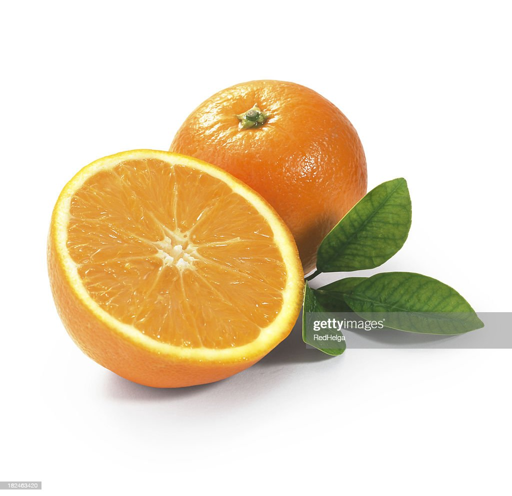 Tangerine duo with Leafs : Stock Photo