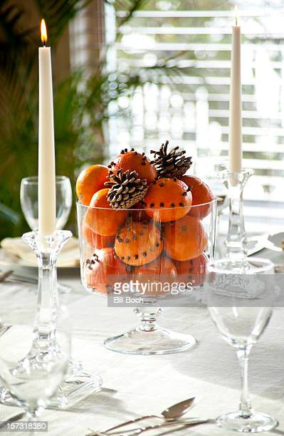 Tangerine holiday table centerpiece