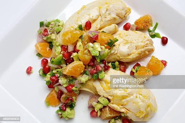 Tangerine Poached Chicken With ClementinePomegranate Relish photographed in Washington DC Photo by Deb Lindsey/For The Washington Post via Getty...
