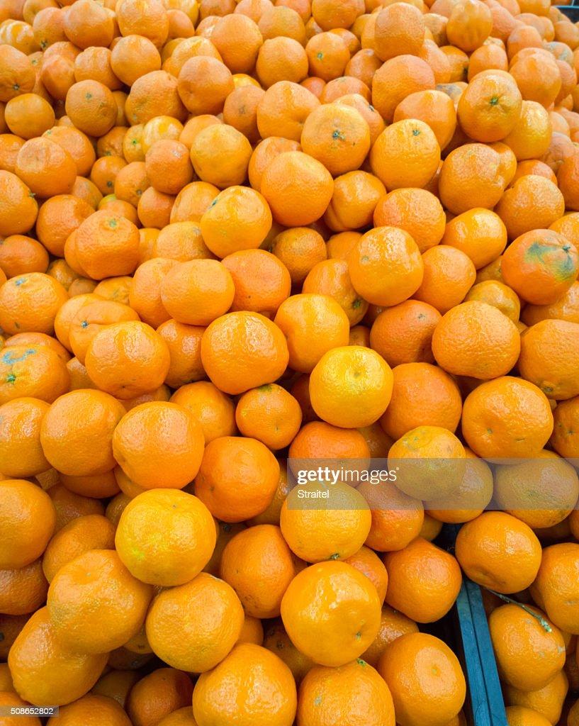 Tangerines in the supermarket. : Stock Photo