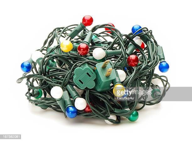 A tangle of multi colored Christmas lights