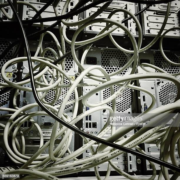 Tangled Cables In Server Room