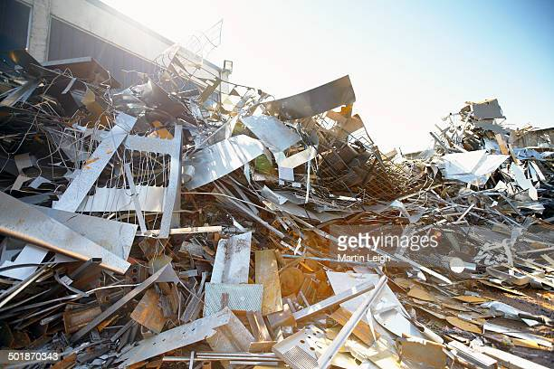 Tangled heap of aluminium in scrap yard