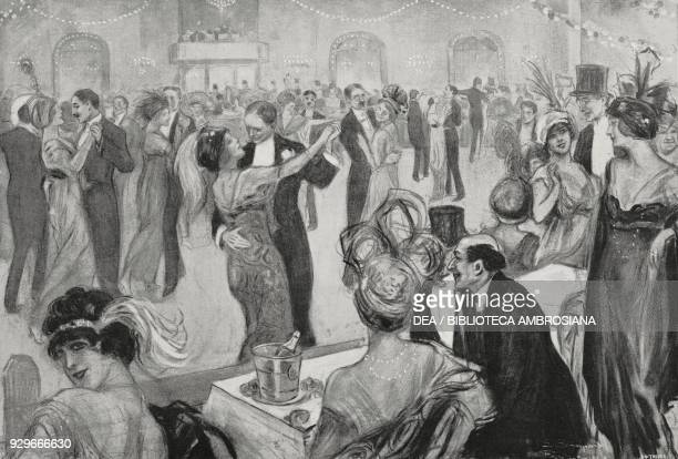 Tango dancers in Paris France drawing by L Bompard from L'Illustrazione Italiana Year XL No 27 July 6 1913