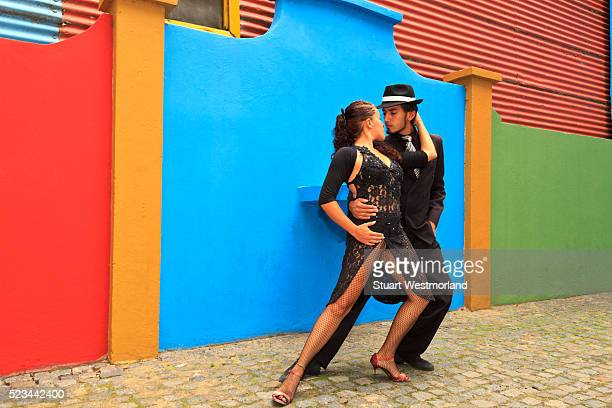 tango dancers on street - argentina traditional clothing stock photos and pictures