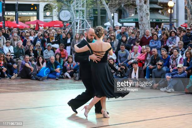 Tango World Champions Lorena González and Gastón Camejo seen dancing during the Montevideo Tango 2019.