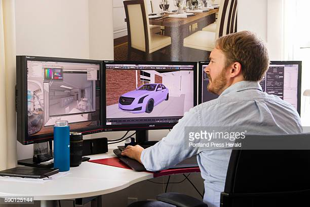Tangram 3DS Director of Visualization Jared Foley works on a 3D design iin their Kittery Maine office on August 9 2016