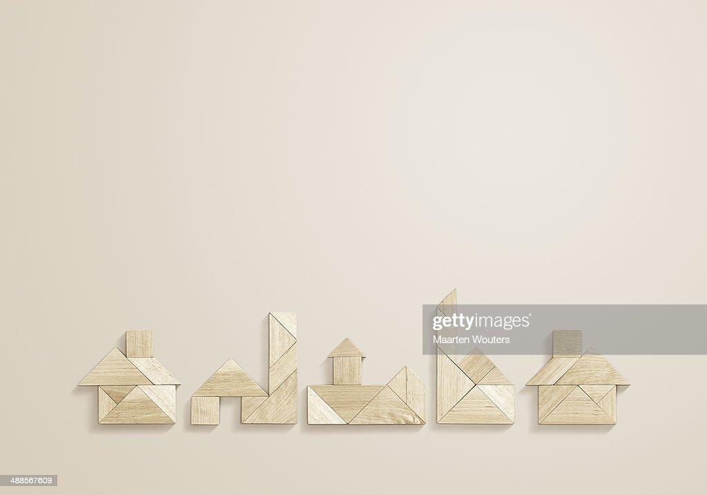 tangram houses : Stock Photo
