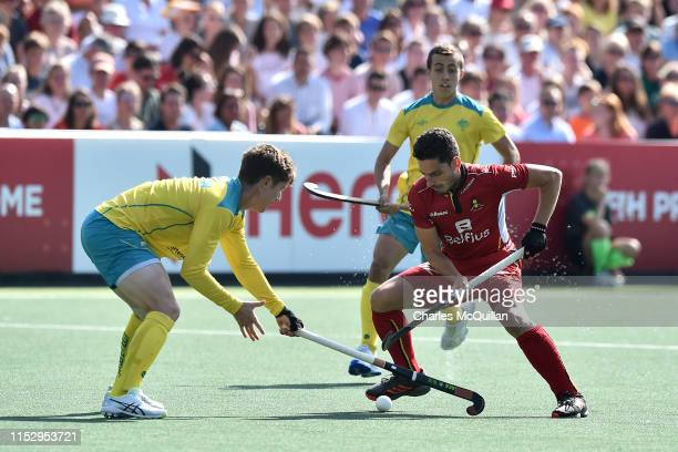 Tanguy Cosyns of Belgium and Matt Dawson of Australia during the Men's FIH Field Hockey Pro League Final between Belgium and Australia at Wagener...