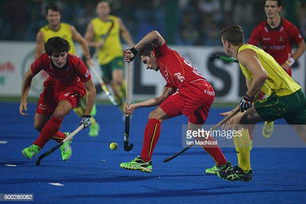 Tanguy Cosyns of Belgium controls the ball during the final match between Australia and Belgium on day ten of The Hero Hockey League World Final at...