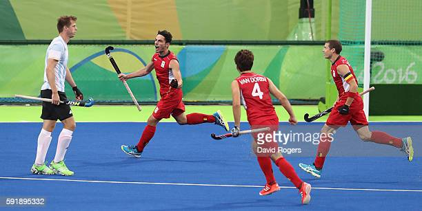 Tanguy Cosyns of Belgium scores their first goal during the Men's Gold Medal match between Argentina and Belgium on Day 13 of the Rio 2016 Olympic...