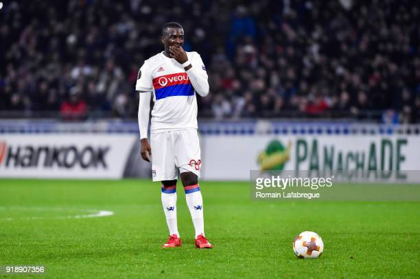 Tanguy Ndombele Alvaro of Lyon and Jeremy Morel of Lyon during the Europa League match between Lyon and Villarreal at Groupama Stadium on February 15...