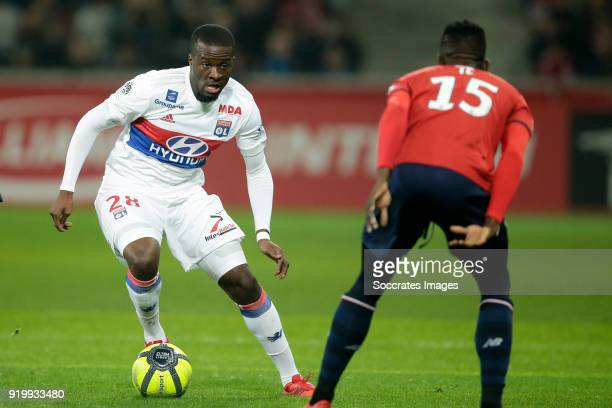 Tanguy Ndombele Alvaro of Olympique Lyon Edgar Le of Lille during the French League 1 match between Lille v Olympique Lyon at the Stade Pierre Mauroy...