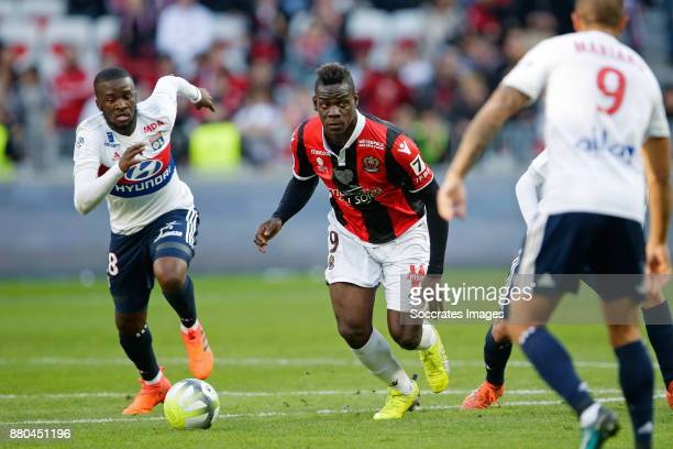 Tanguy Ndombele Alvaro of Olympique Lyon Mario Balotelli of Nice during the French League 1 match between Nice v Olympique Lyon at the Allianz...