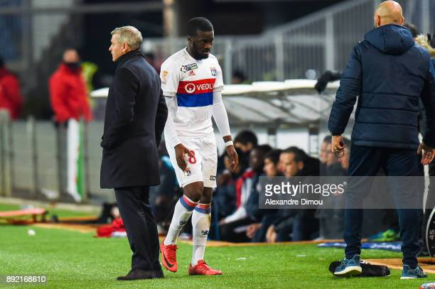 Tanguy Ndombele and Bruno Genesio Coach of Lyon during the french League Cup match Round of 16 between Montpellier and Lyon on December 13 2017 in...