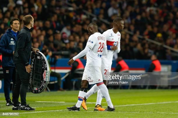 Tanguy Ndombele and Christopher Martins Pereira of Lyon during the Ligue 1 match between Paris Saint Germain and Olympique Lyonnais at Parc des...