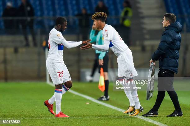 Tanguy Ndombele and Willem Geubbels of Lyon during the french League Cup match Round of 16 between Montpellier and Lyon on December 13 2017 in...