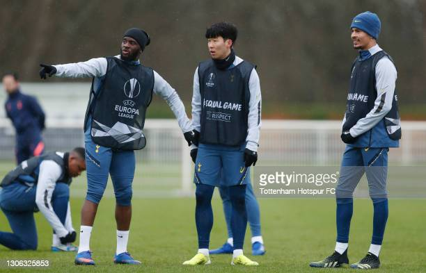 Tanguy Ndombele, Heung-Min Son and Dele Alli of Tottenham Hotspur during the Tottenham Hotspur training session at Tottenham Hotspur Training Centre...