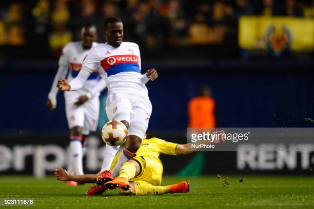 Tanguy Ndombele Jaume Costa during the match between Villarreal CF against Olympique of Lyon Round of 32 2nd leg of UEFA Europa League at Ceramica...