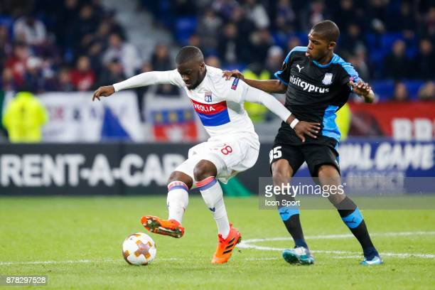 Tanguy Ndombele of Lyon and Alef of Limassol during europa league match between Olympique Lyonnais and Apollon Limassol at Parc Olympique on November...