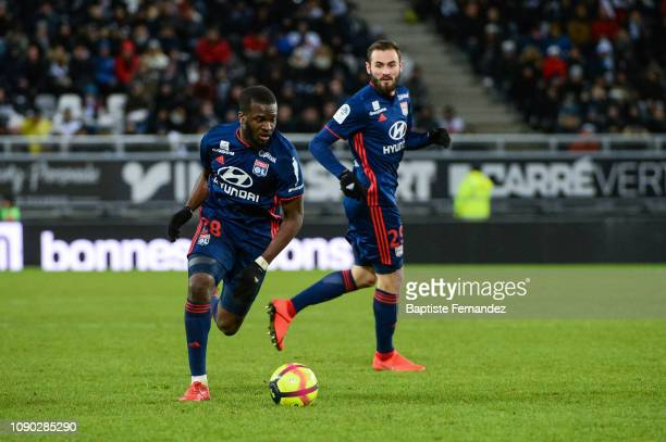Tanguy Ndombele of Lyon and Lucas Tousart of Lyon during the French Ligue 1 football match between Amiens and Lyon at Stade de la Licorne on January...