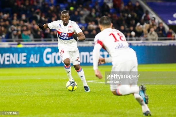 Tanguy Ndombele of Lyon and Nabil Fekir of Lyon during the Ligue 1 match between Olympique Lyonnais and Stade Rennes at Parc Olympique on February 11...