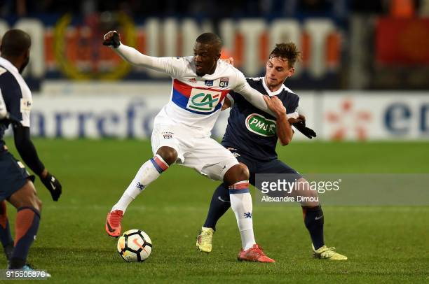 Tanguy Ndombele of Lyon and Ruben Aguilar of Montpellier during the French Cup match between Montpellier and Lyon at Stade de la Mosson on February 7...