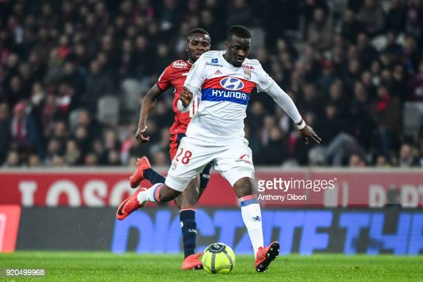 Tanguy Ndombele of Lyon during the Ligue 1 match between Lille OSC and Olympique Lyonnais at Stade Pierre Mauroy on February 18 2018 in Lille
