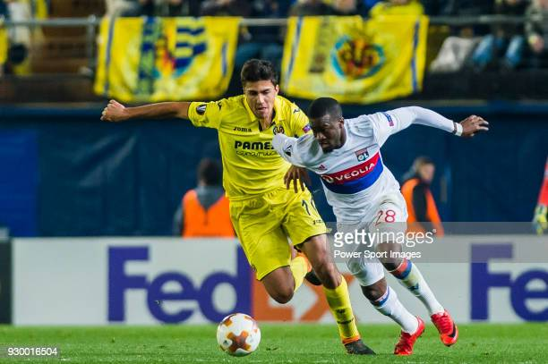 Tanguy NDombele of Olympique Lyon fights for the ball with Rodrigo Hernandez Cascante Rodri of Villarreal CF during the UEFA Europa League 201718...