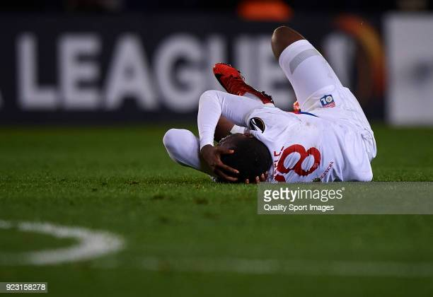 Tanguy Ndombele of Olympique Lyon lies on the pitch during UEFA Europa League Round of 32 match between Villarreal and Olympique Lyon at the Estadio...