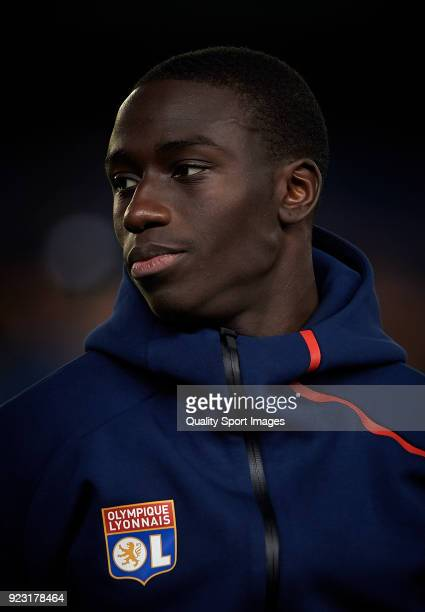 Tanguy Ndombele of Olympique Lyon loos on prior the during UEFA Europa League Round of 32 match between Villarreal and Olympique Lyon at the Estadio...