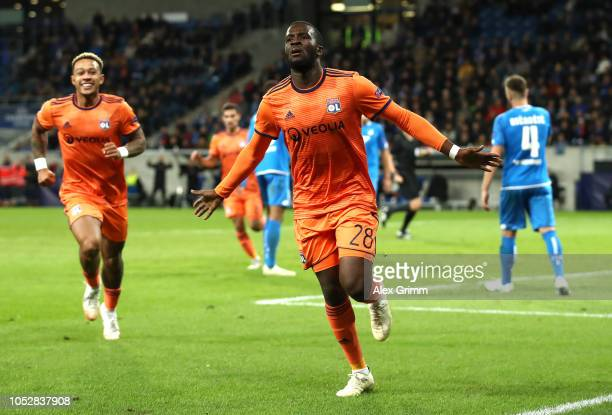 Tanguy Ndombele of Olympique Lyonnais celebrates after scoring his team's second goal during the Group F match of the UEFA Champions League between...