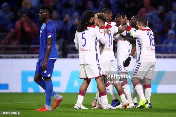 Tanguy Ndombele of Olympique Lyonnais celebrates after scoring his team's second goal with his team mates during the UEFA Champions League Group F...