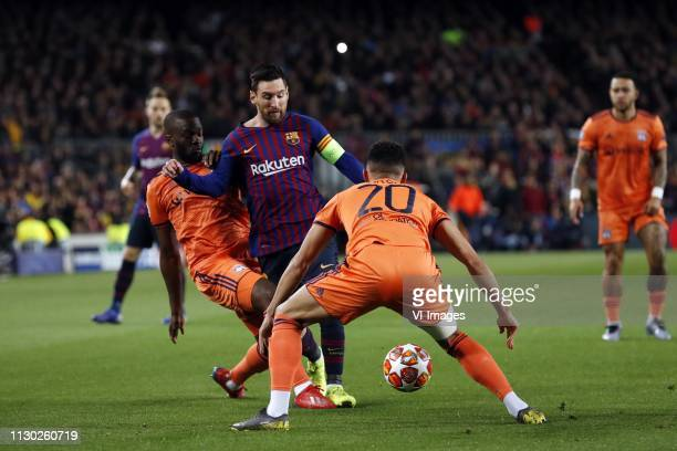 Tanguy Ndombele of Olympique Lyonnais Lionel Messi of FC Barcelona Fernando Maral of Olympique Lyonnais during the UEFA Champions League round of 16...