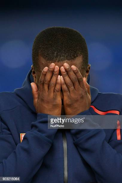 Tanguy Ndombele of Olympique Lyonnais reacts prior to the UEFA Europa League round of 32 second leg match between Villarreal CF and Olympique...